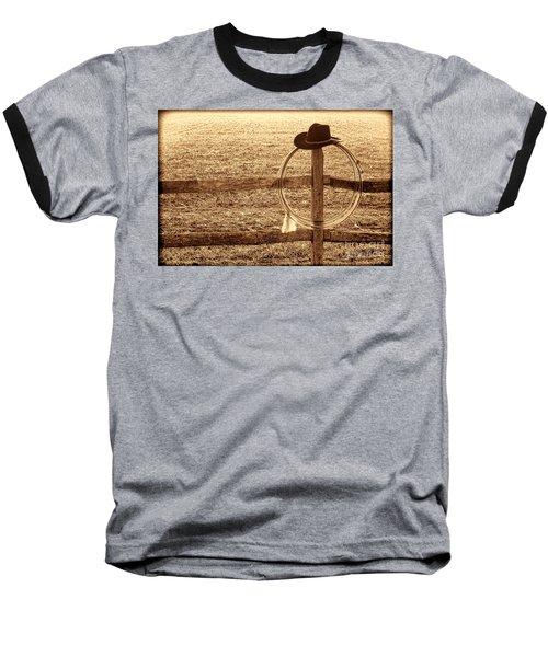 Misty Morning At The Ranch Baseball T-Shirt