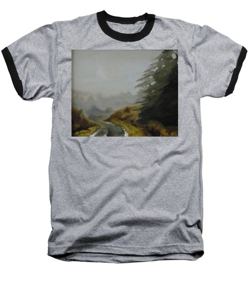 Baseball T-Shirt featuring the painting Misty Morning, Benevenagh by Barry Williamson