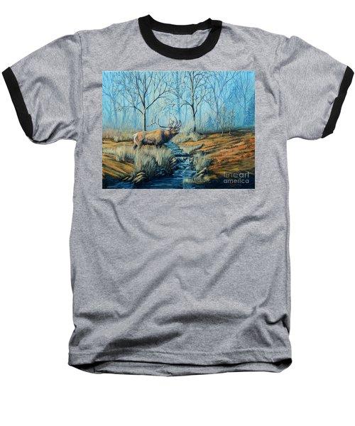 Misty Morning Bugler Baseball T-Shirt