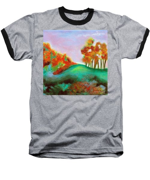 Baseball T-Shirt featuring the painting Misty Morning by Elizabeth Fontaine-Barr
