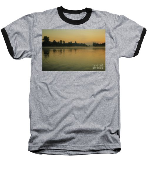 Misty Morning Lake Baseball T-Shirt