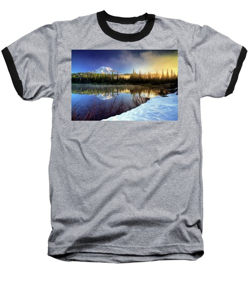 Misty Morning Lake Baseball T-Shirt