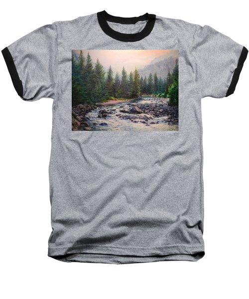 Misty Morning On East Rosebud River Baseball T-Shirt