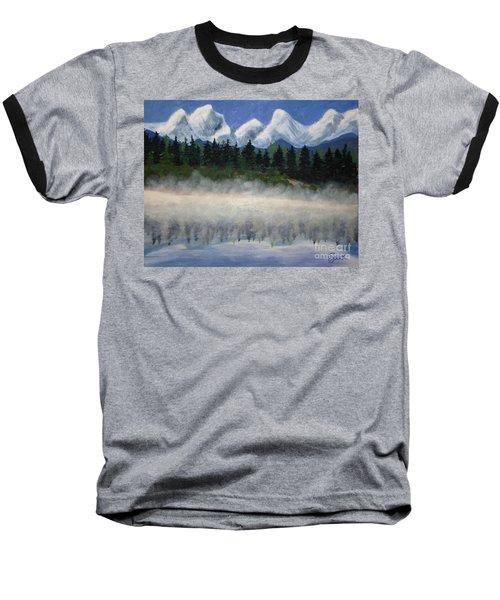 Misty Morning On The Mountain Baseball T-Shirt