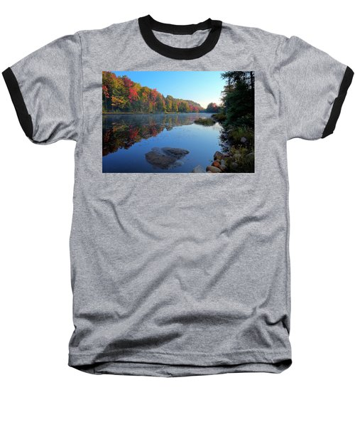 Baseball T-Shirt featuring the photograph Misty Morning On The Pond by David Patterson