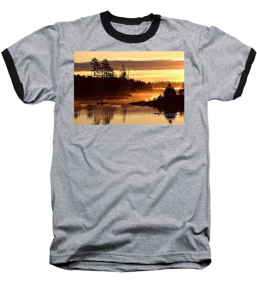 Baseball T-Shirt featuring the photograph Misty Morning Paddle by Larry Ricker