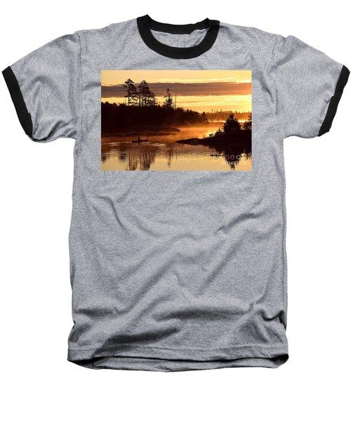 Misty Morning Paddle Baseball T-Shirt