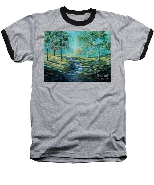 Misty Morning Path Baseball T-Shirt