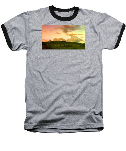Misty Morning Sunrise Baseball T-Shirt by Mike Breau
