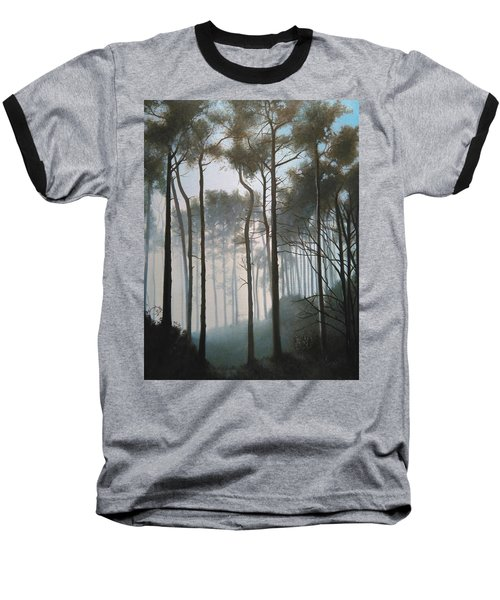 Misty Morning Walk Baseball T-Shirt