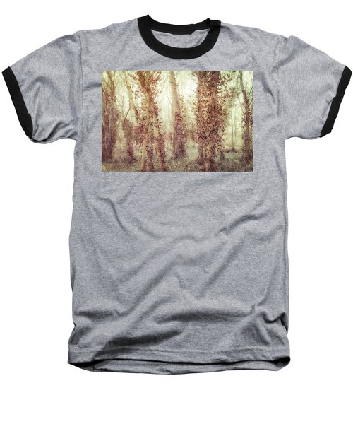 Misty Morning Winter Forest  Baseball T-Shirt
