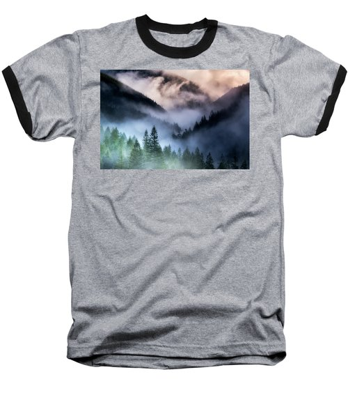 Misty Mornings Baseball T-Shirt by Nicki Frates