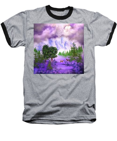 Misty Mountain Deer Baseball T-Shirt