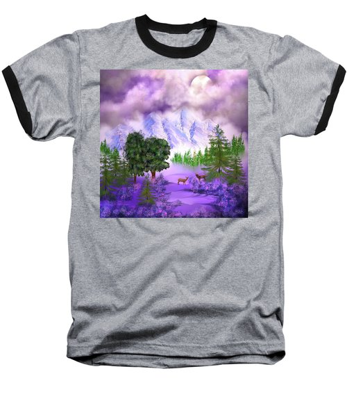 Misty Mountain Deer Baseball T-Shirt