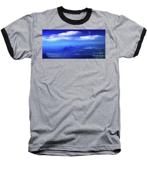 Misty Mountains Of San Salvador Panorama Baseball T-Shirt by Al Bourassa