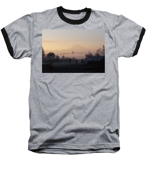 Misty Mt. Rainier Sunrise Baseball T-Shirt