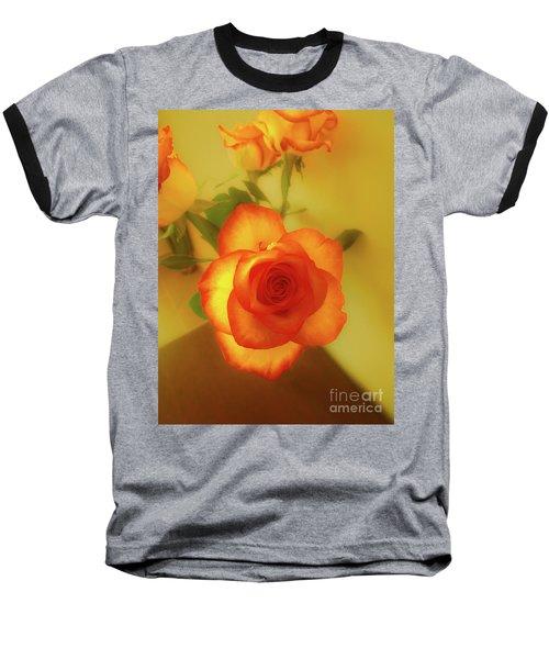 Misty Orange Rose Baseball T-Shirt