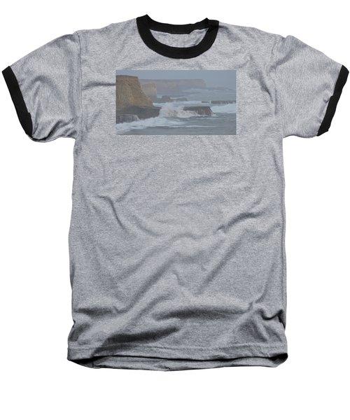 Misty Pacific Cliffs Baseball T-Shirt