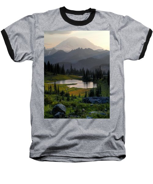 Misty Rainier At Sunset Baseball T-Shirt by Peter Mooyman
