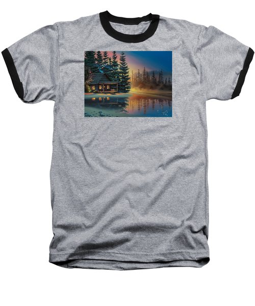 Baseball T-Shirt featuring the painting Misty Refection by Al Hogue