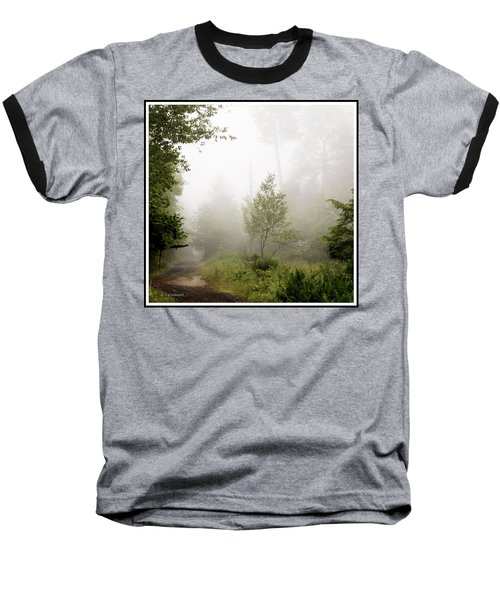 Misty Road At Forest Edge, Pocono Mountains, Pennsylvania Baseball T-Shirt by A Gurmankin