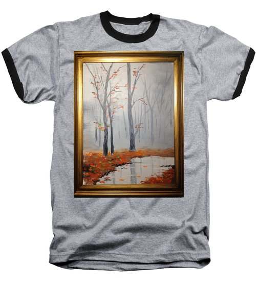 Misty Stream In Autumn Baseball T-Shirt