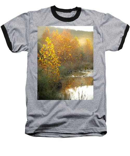 Misty Sunrise At Lost Maples State Park Baseball T-Shirt by Debbie Karnes