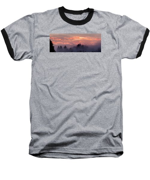 Misty Sunrise Panorama Baseball T-Shirt by E Faithe Lester