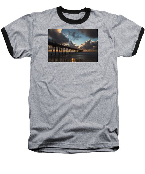 Misty Sunset Baseball T-Shirt by Ed Clark