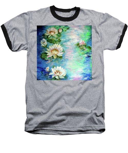 Misty Waters Waterlily Pond Baseball T-Shirt