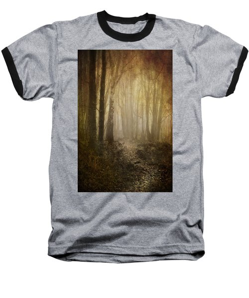 Misty Woodland Path Baseball T-Shirt