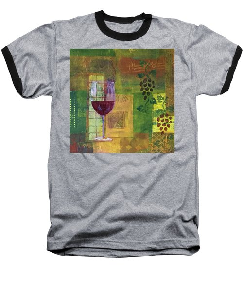 Mixed Media Painting Wine Baseball T-Shirt by Patricia Cleasby