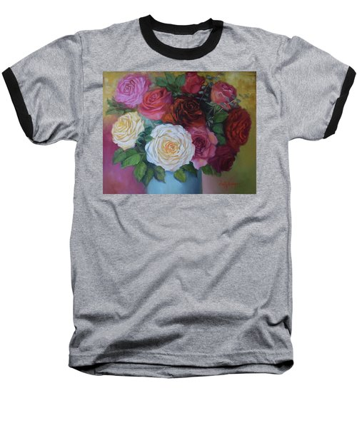 Mixed Roses In Turquoise Vase Baseball T-Shirt