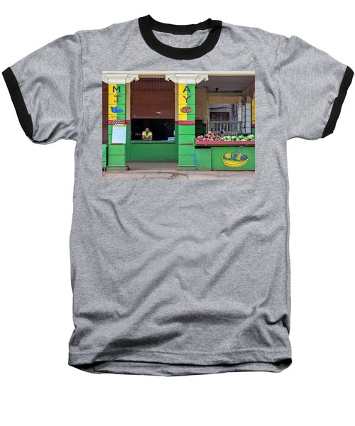 Baseball T-Shirt featuring the photograph Mjay Fruit Stand Havana Cuba by Charles Harden