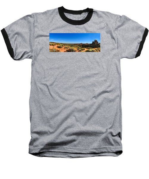 Moab Retrospective Baseball T-Shirt by Laura Ragland