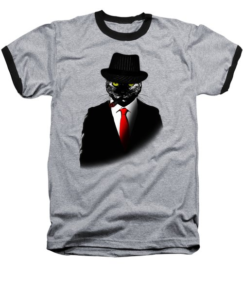 Mobster Cat Baseball T-Shirt by Nicklas Gustafsson