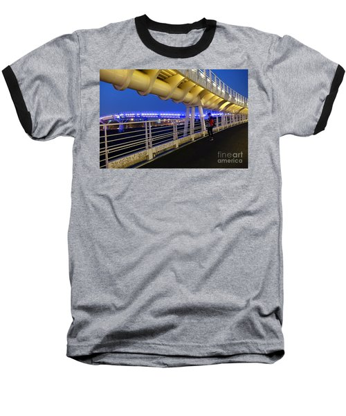 Baseball T-Shirt featuring the photograph Modern Bicycle Overpass By Night by Yali Shi