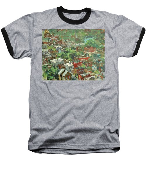 Baseball T-Shirt featuring the painting Modern Cityscape Painting Featuring Downtown Richmond Virginia by Robert Joyner