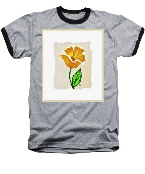 Baseball T-Shirt featuring the painting Modern Gold Flower by Marsha Heiken