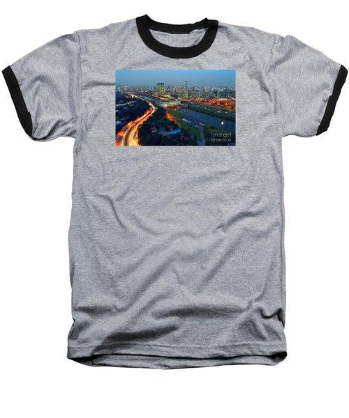 Modern Sao Paulo Skyline - Cidade Jardim And Marginal Pinheiros Baseball T-Shirt