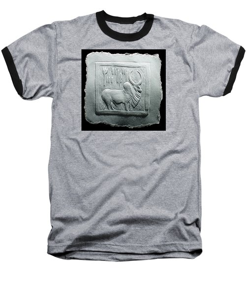 Baseball T-Shirt featuring the relief Mohenjodaro Seal Relief Drawing by Suhas Tavkar