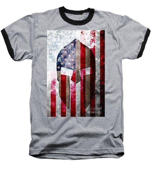 Molon Labe - Spartan Helmet Across An American Flag On Distressed Metal Sheet Baseball T-Shirt by M L C
