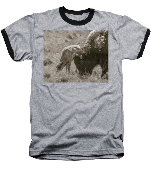 Baseball T-Shirt featuring the photograph Mom And Baby Buffalo by Rebecca Margraf