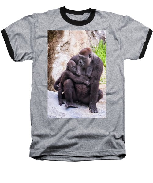 Mom And Baby Gorilla Sitting Baseball T-Shirt