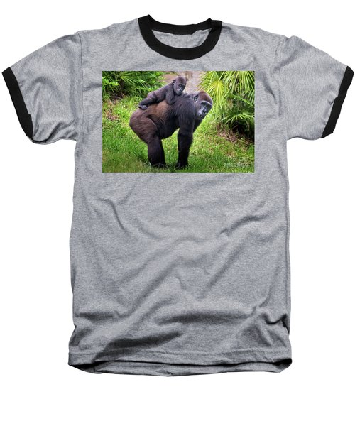 Mom And Baby Gorilla Baseball T-Shirt by Stephanie Hayes