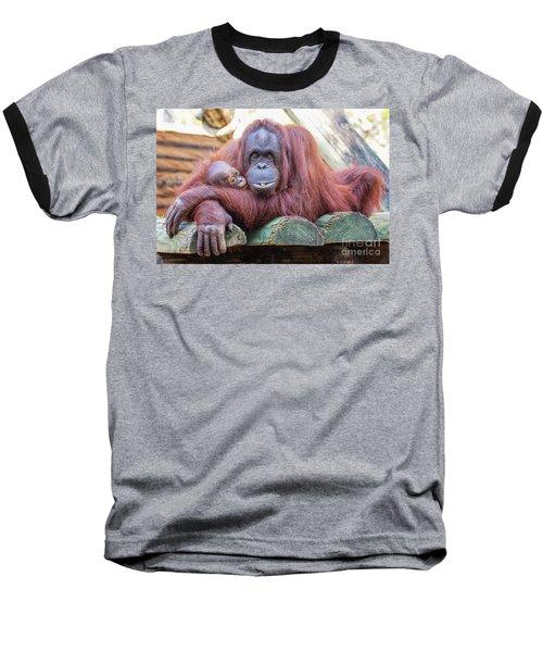 Mom And Baby Orangutan Baseball T-Shirt