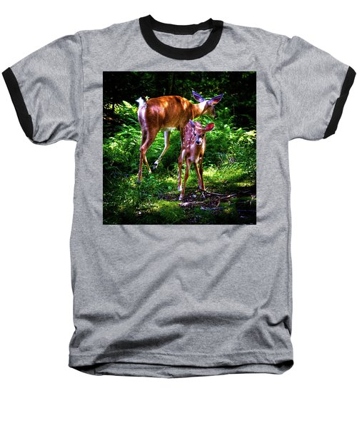 Baseball T-Shirt featuring the photograph Mom And Fawn by David Patterson