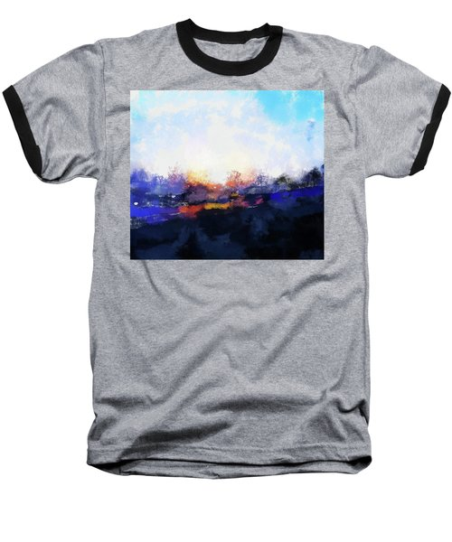 Moment In Blue Spaces Baseball T-Shirt by Cedric Hampton