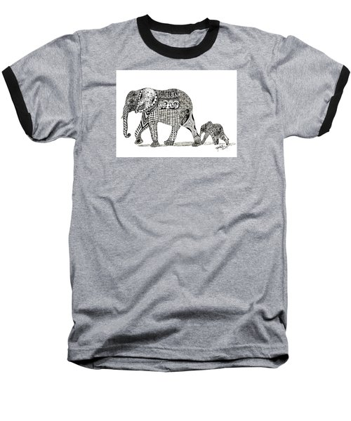 Baseball T-Shirt featuring the drawing Momma And Baby Elephant by Kathy Sheeran
