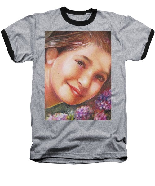 Mona Lisa's Smile Baseball T-Shirt